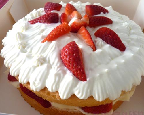Gâteau fraise chantilly